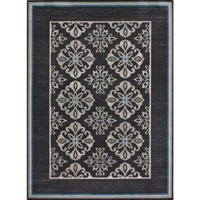 Medallion Blue Border Cream/Grey 5 ft. x 7 ft. Indoor/Outdoor Area Rug
