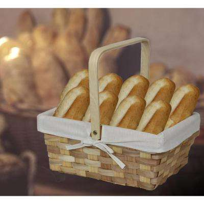 12 in. x 5.5 in. x 8.25 in. Rectangular Woodchip Picnic Basket Lined with White Fabric