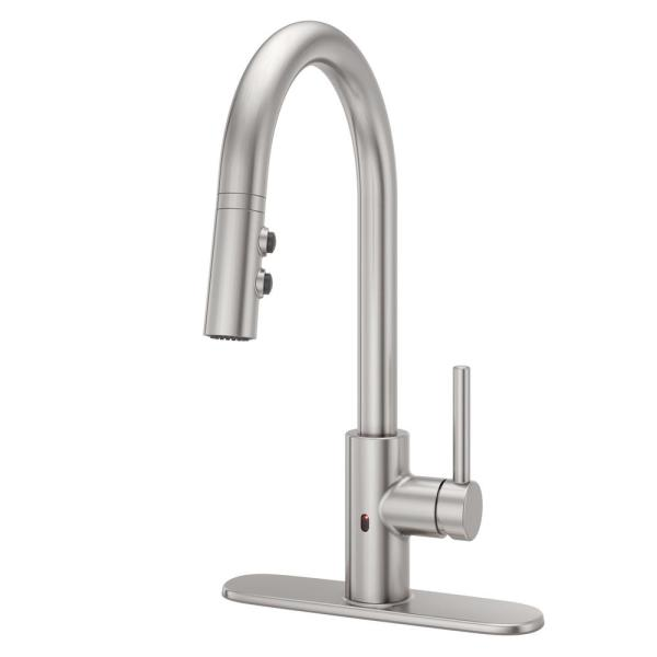 Pfister Stellen Single Handle Electronic Pull Down Sprayer Kitchen Faucet With React Touchless Technology In Stainless Steel Lg529 Esas The Home Depot