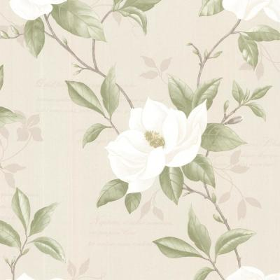 8 in. x 10 in. Cressida Ivory Magnolia Trail Wallpaper Sample