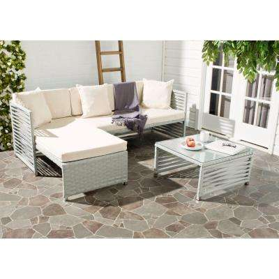 Likoma Grey 3-Piece Wicker Patio Sectional Seating Set with Beige Cushion