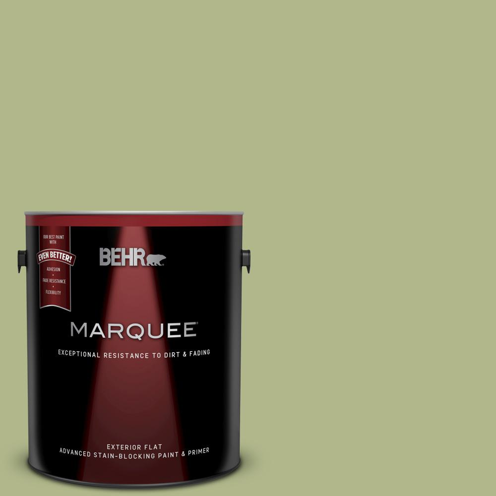 Behr Marquee 1 Gal M350 4 Sweet Grass Flat Exterior Paint And Primer In One 445401 The Home Depot