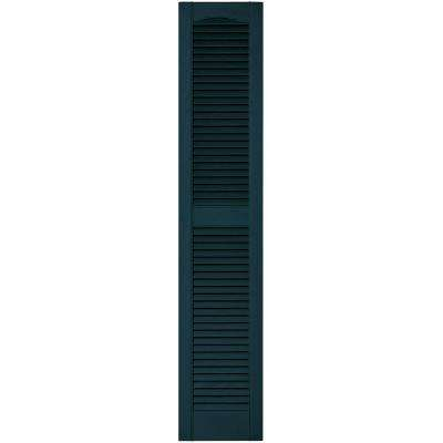 12 in. x 60 in. Louvered Vinyl Exterior Shutters Pair in #166 Midnight Blue