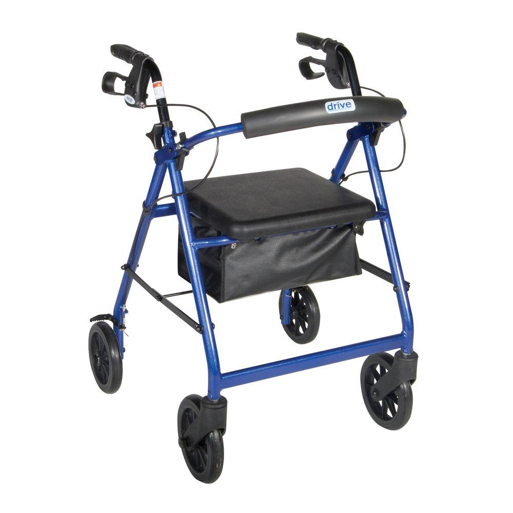 Blue 4-Wheel Rollator Walker with Fold Up Removable Back Support Padded