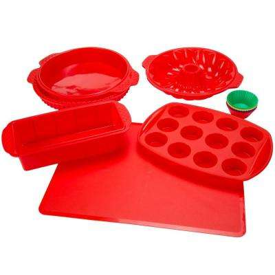 11 in. x 1.5 in. Silicone Bakeware Set in Red (18-Piece)