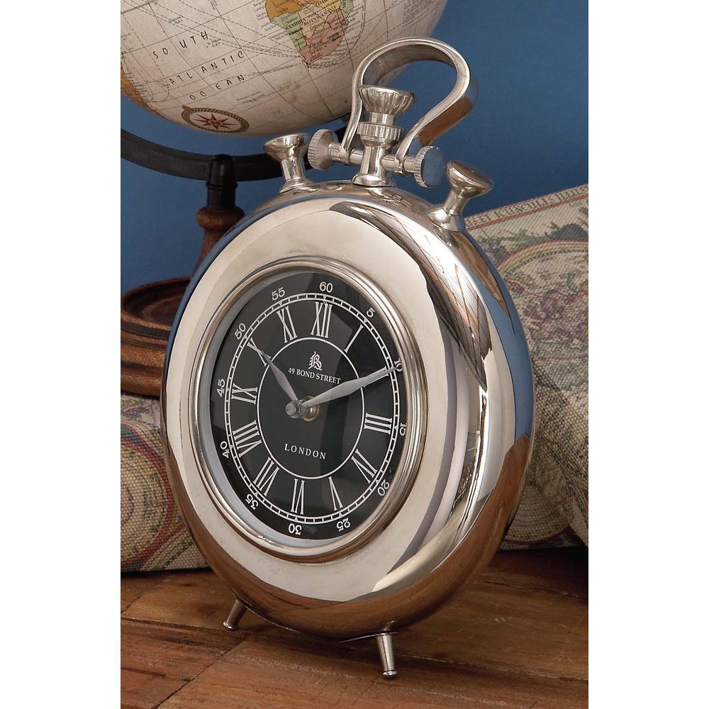 11 in. x 8 in. Modern Aluminium Round Table Clock in