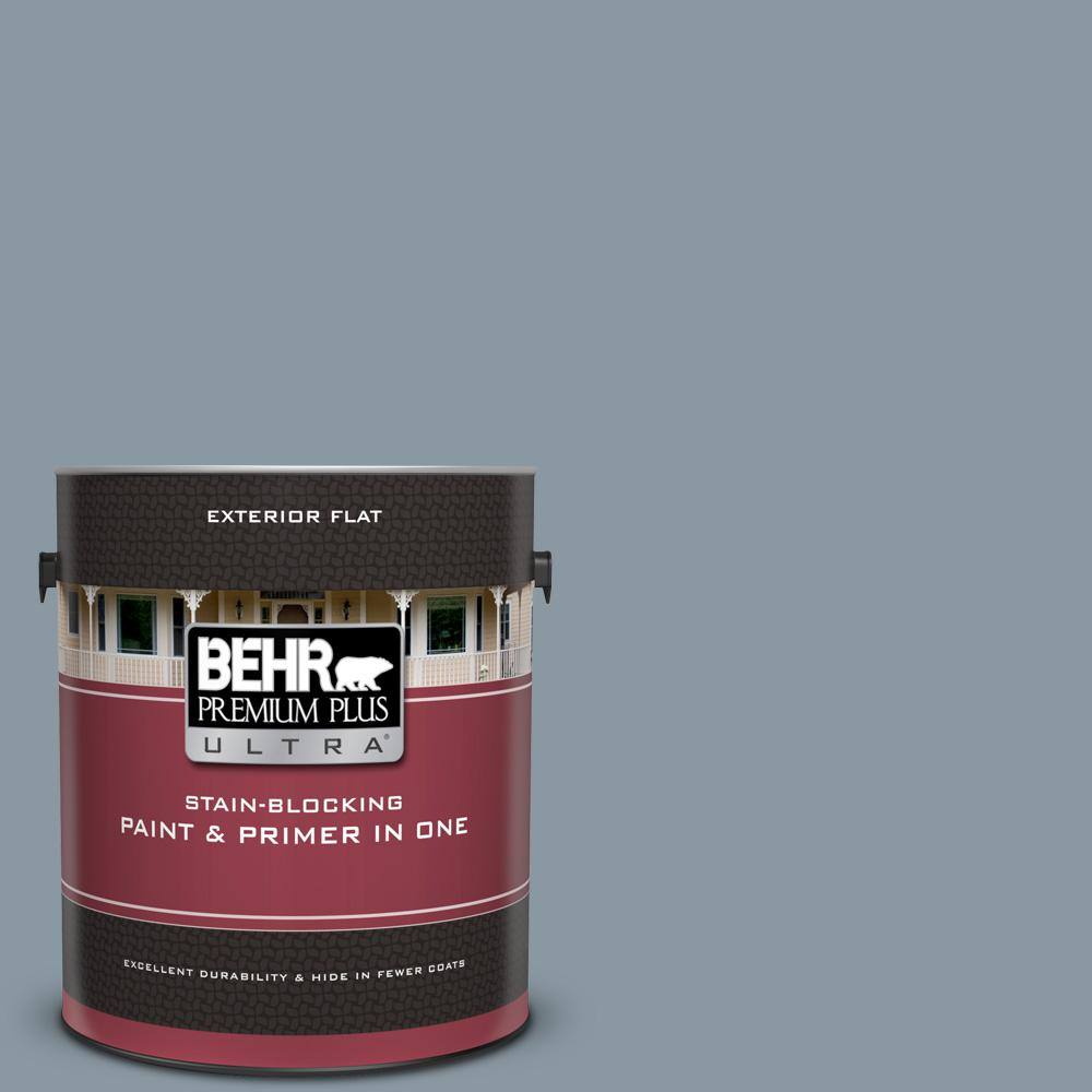N490 4 Teton Blue Flat Exterior Paint And Primer In One