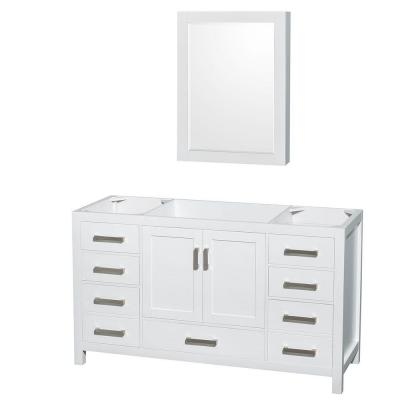 Sheffield 59 in. Vanity Cabinet with Medicine Cabinet and Mirror in White