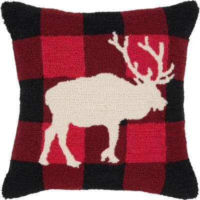 Burnina Red Plaid Polyester 18 in. x 18 in. Throw Pillow
