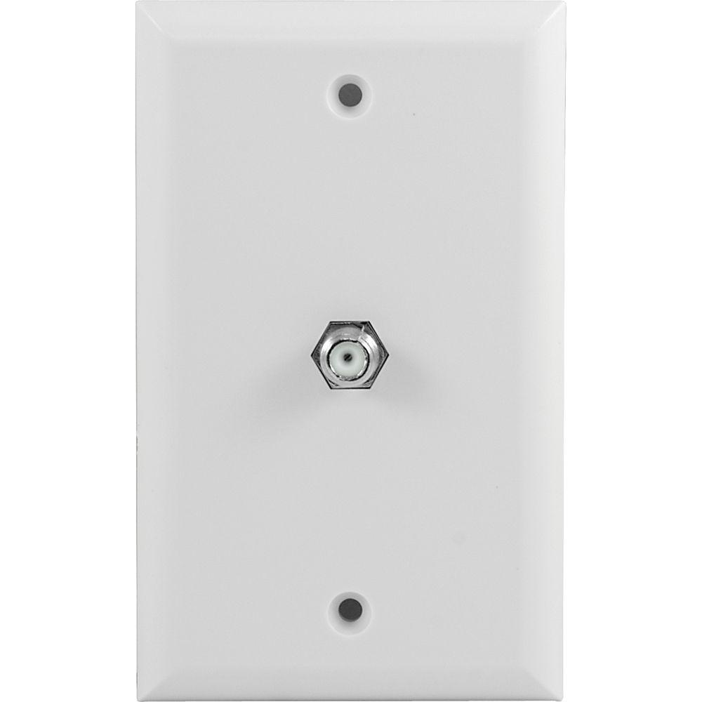 GE F-Connector Plastic Wall Plate - White