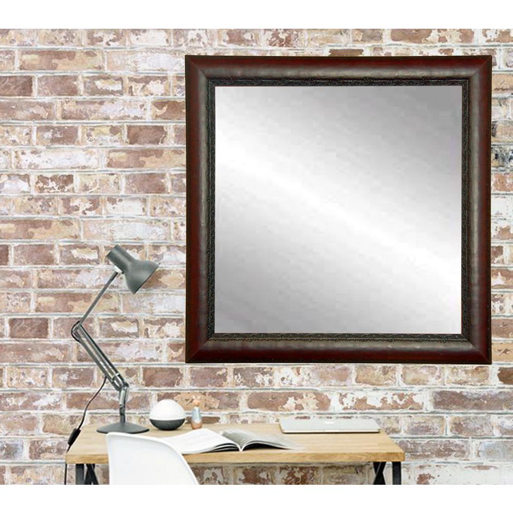 Mahogany Bathroom Mirror: Carved Mahogany Framed Mirror-BM019SQ