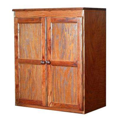 Wood Kitchen Pantry Cabinet, 36 in. with 2 Shelves, Oak Finish