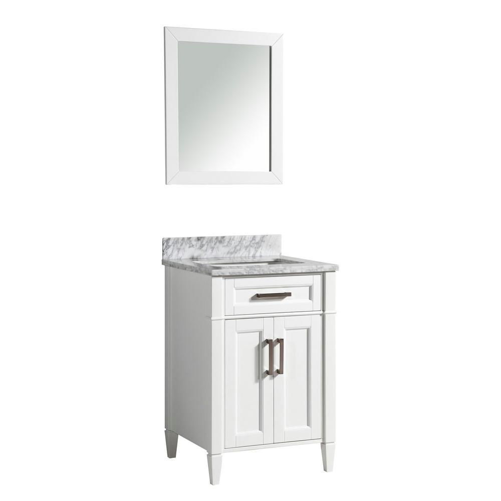Savon 24 in. W x 22 in. D x 36 in. H Bath Vanity in White with Vanity Top in White with White Basin and Mirror