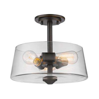 Aurora 3-Light Olde Bronze Semi-Flushmount with Clear Shade