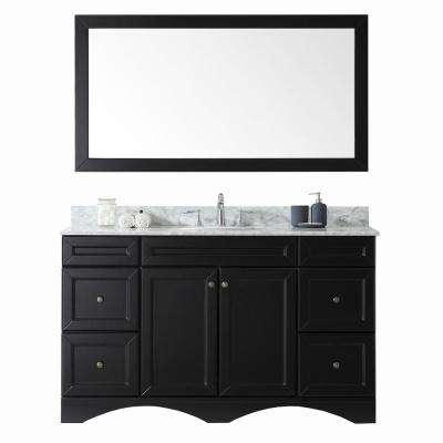 Talisa 60 in. W Bath Vanity in Espresso with Marble Vanity Top in White with Round Basin and Mirror and Faucet