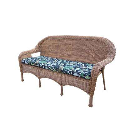 Natural Wicker Outdoor Sofa with Black Floral Cushions