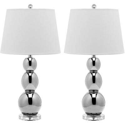 Jayne 26.5 in. Silver Three Sphere Glass Lamp (Set of 2)