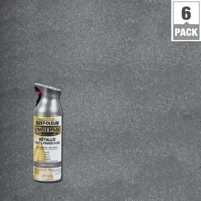 11 oz. All Surface Metallic Dark Steel Spray Paint and Primer in One (6-Pack)