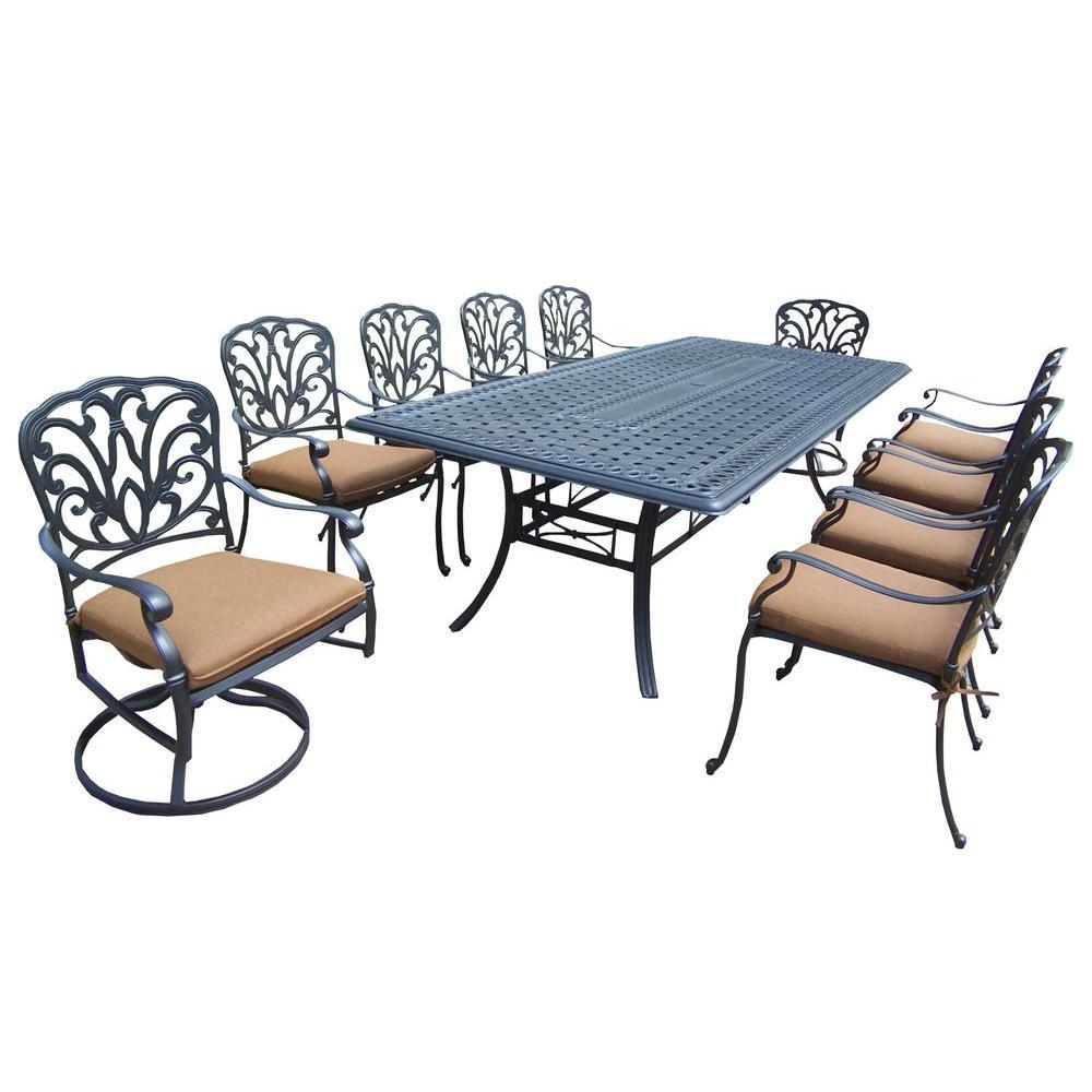 Oakland Living Hampton 11-Piece Patio Dining Set with Sunbrella Cushions by