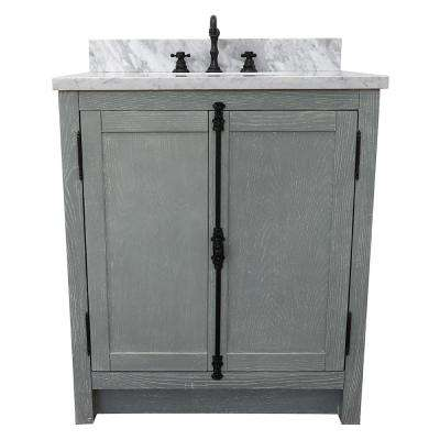 Plantation 31 in. W x 22 in. D Bath Vanity in Gray with Marble Vanity Top in White with White Rectangle Basin