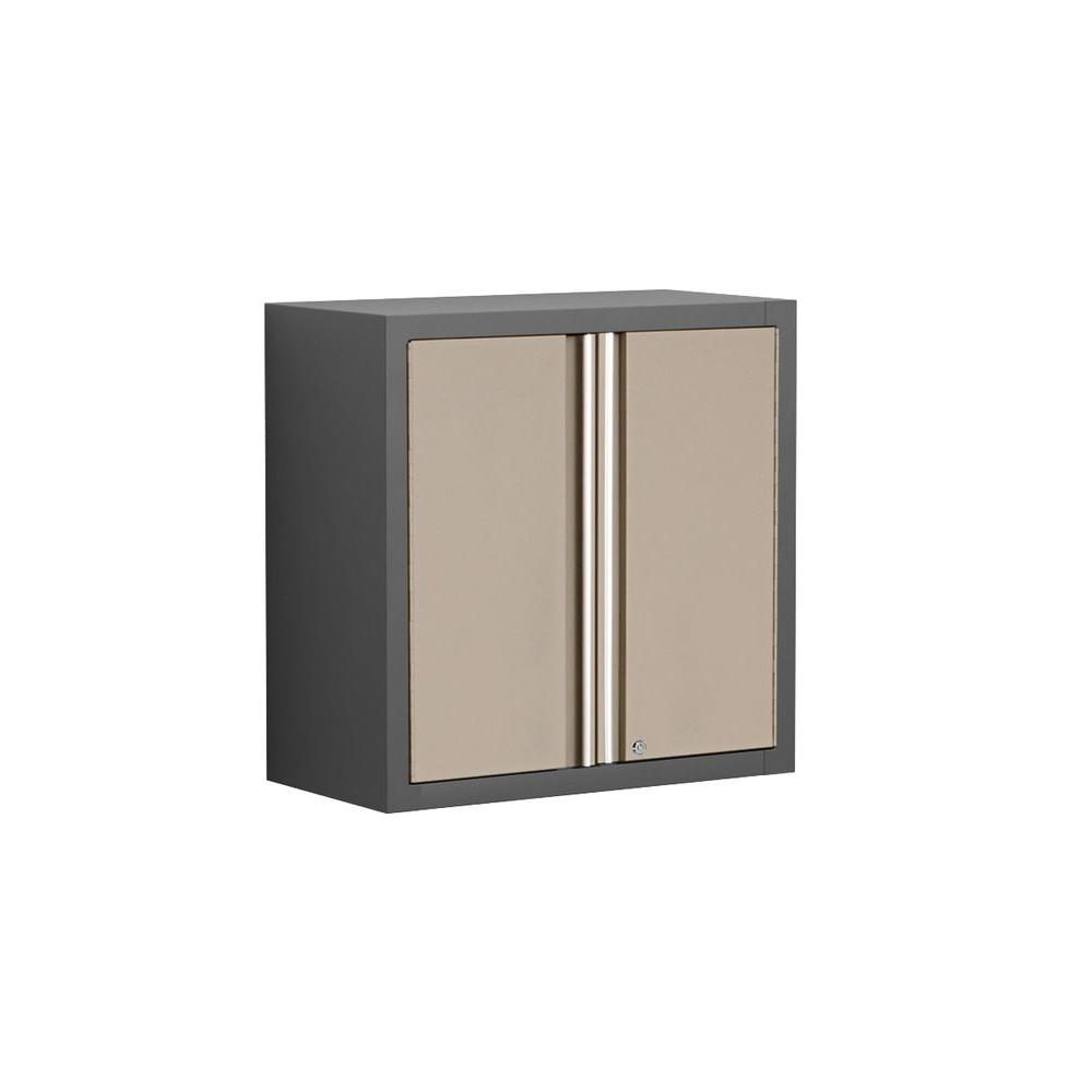 NewAge Products Pro Series 28 in. H x 28 in. W x 14 in. D 2-Door 18-Gauge Welded Steel Wall Garage Cabinet in Taupe