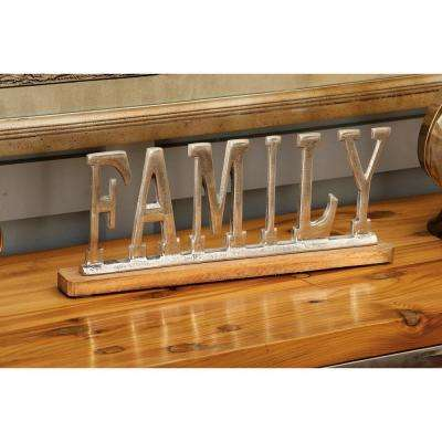 "15 in. x 6 in. Silver Aluminum ""FAMILY"" Standing Sign on Oak Brown Wooden Base"