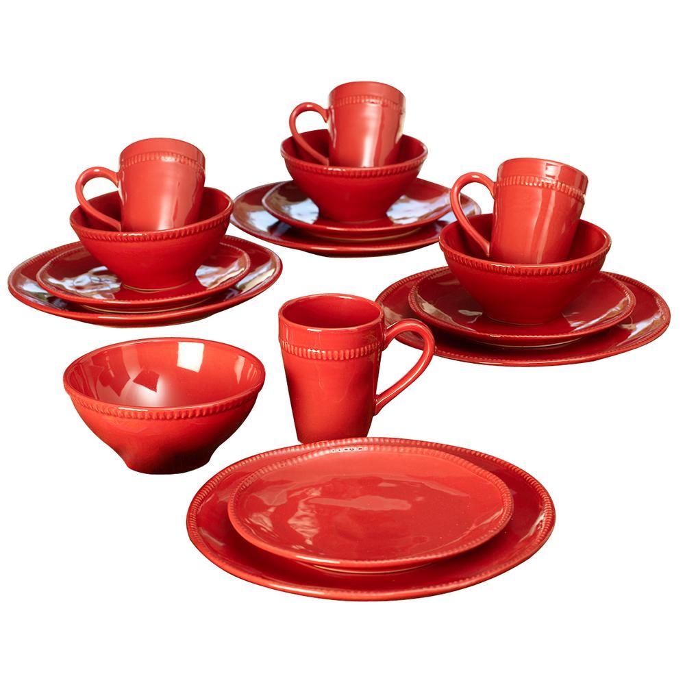 Algarve 16-Piece Red Dinnerware Set by