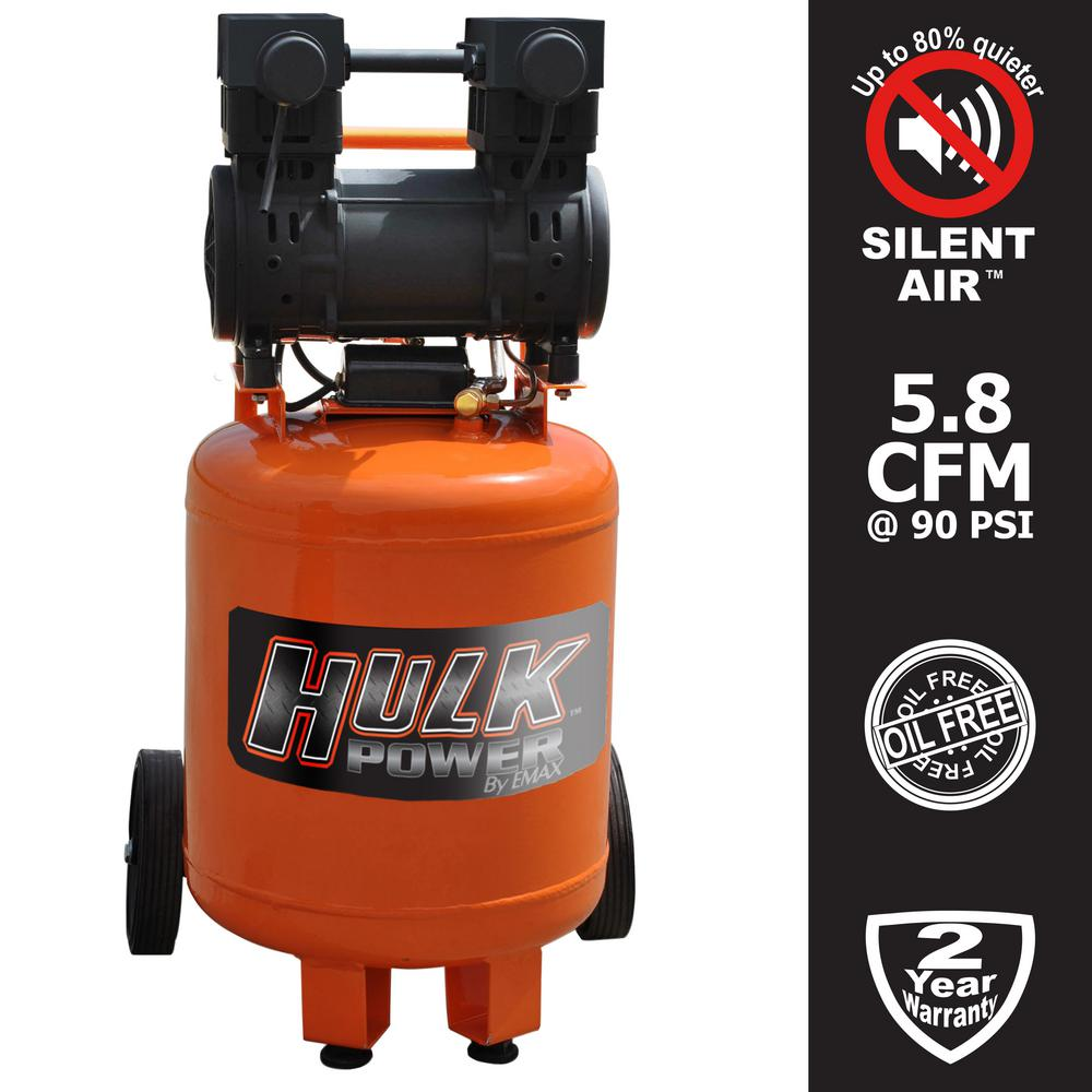 HULK POWER 10 Gal. 2 HP Portable Electric-Powered Vertical Silent Air Compressor