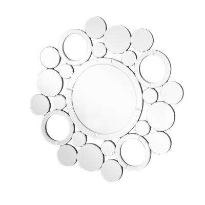 Emory 29 in. Contemporary Round Mirror with Clear MDF Frame, Round Shape, Mounting Type: D Ring
