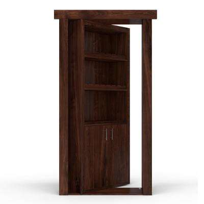 32 in. x 80 in. Flush Mount Assembled Hickory Dark Stained Left-Hand Inswing Wine Rack Door