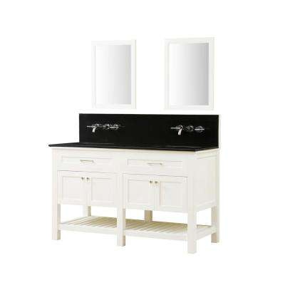 Preswick Spa Premium 60 in. W x 25 in. D Vanity in White with Granite Vanity Top in Black with White Basin and Mirrors