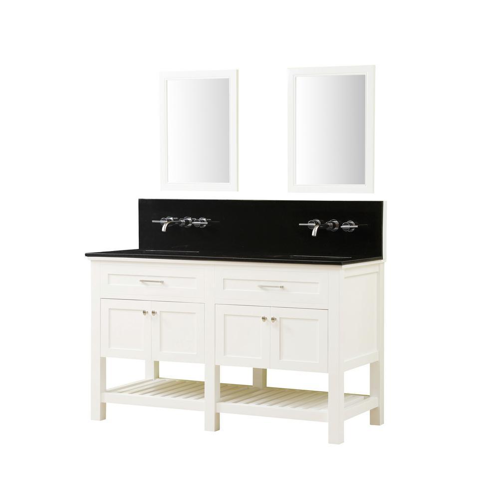 Preswick Spa Premium 60 in. W x 25 in. D Vanity in White with Granite Vanity Top in Black with White Basin and Mirrors