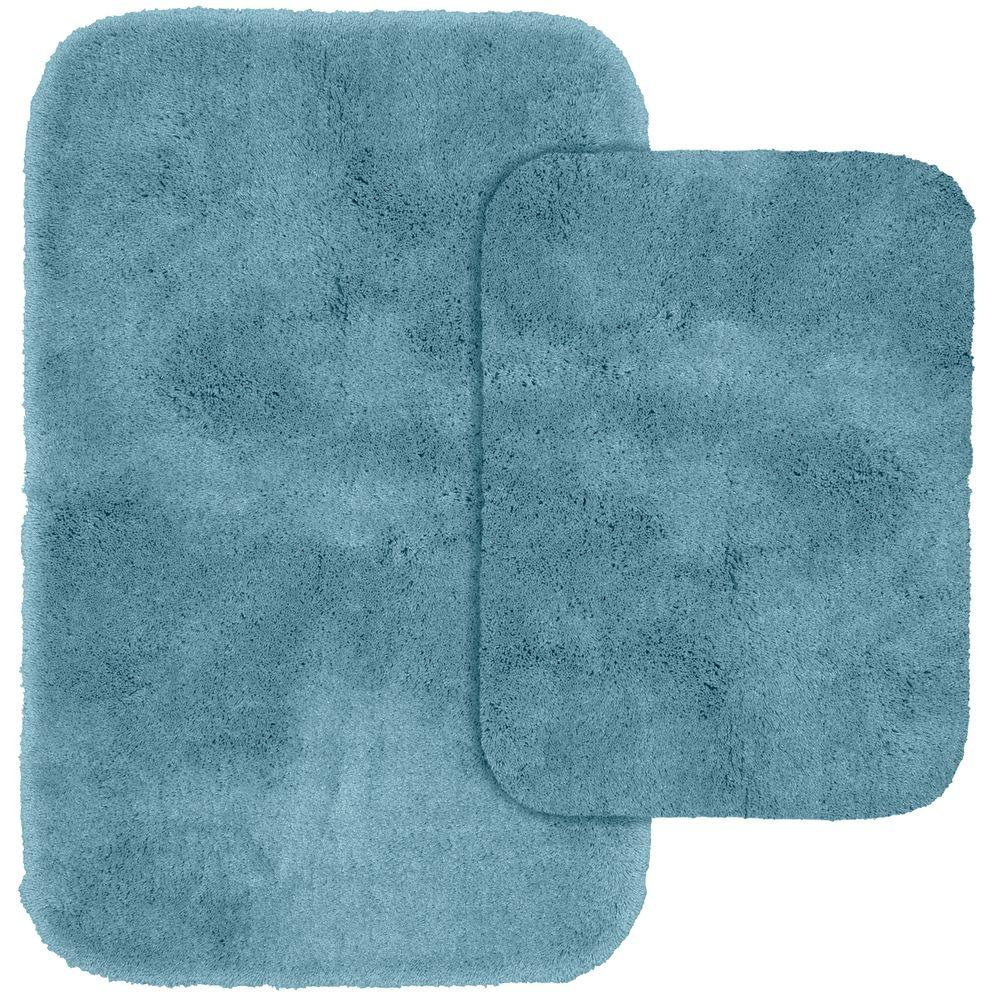 Finest Luxury Basin Blue 21 in. x 34 in. Washable Bathroom