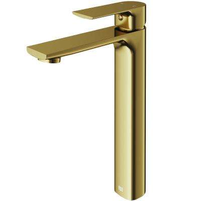 Norfolk Single Hole Single-Handle Vessel Bathroom Faucet in Matte Gold