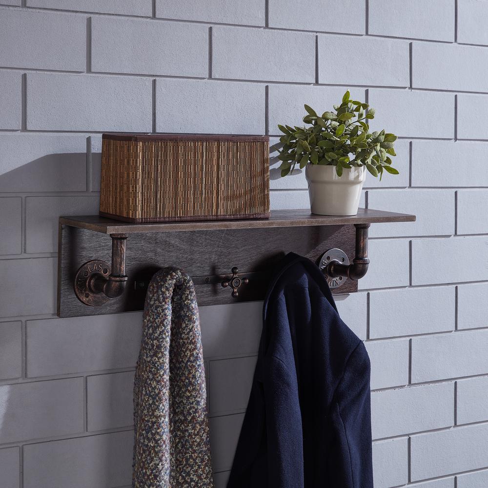 DANYA B Industrial Cherry Brown Coat Rack with Faucet Hooks CU26557