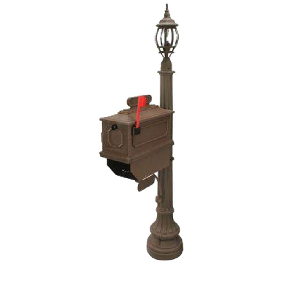 Postal Products Unlimited 1812 Beaumont 72 in. Plastic Coffee Mailbox with Lantern Post