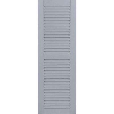 15 in. x 64 in. Exterior Composite Wood Louvered Shutters Pair Unfinished