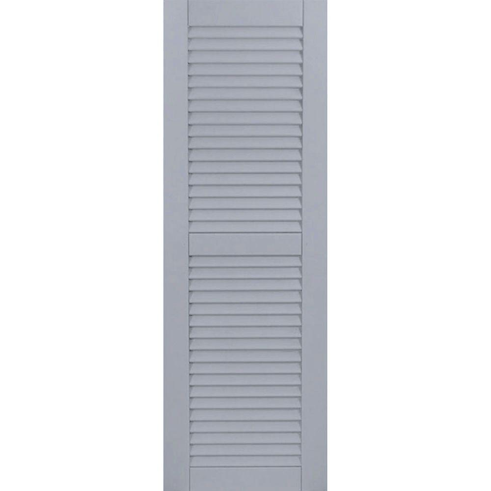 Ekena millwork 18 in x 60 in exterior composite wood louvered shutters pair unfinished for Unfinished wood shutters exterior