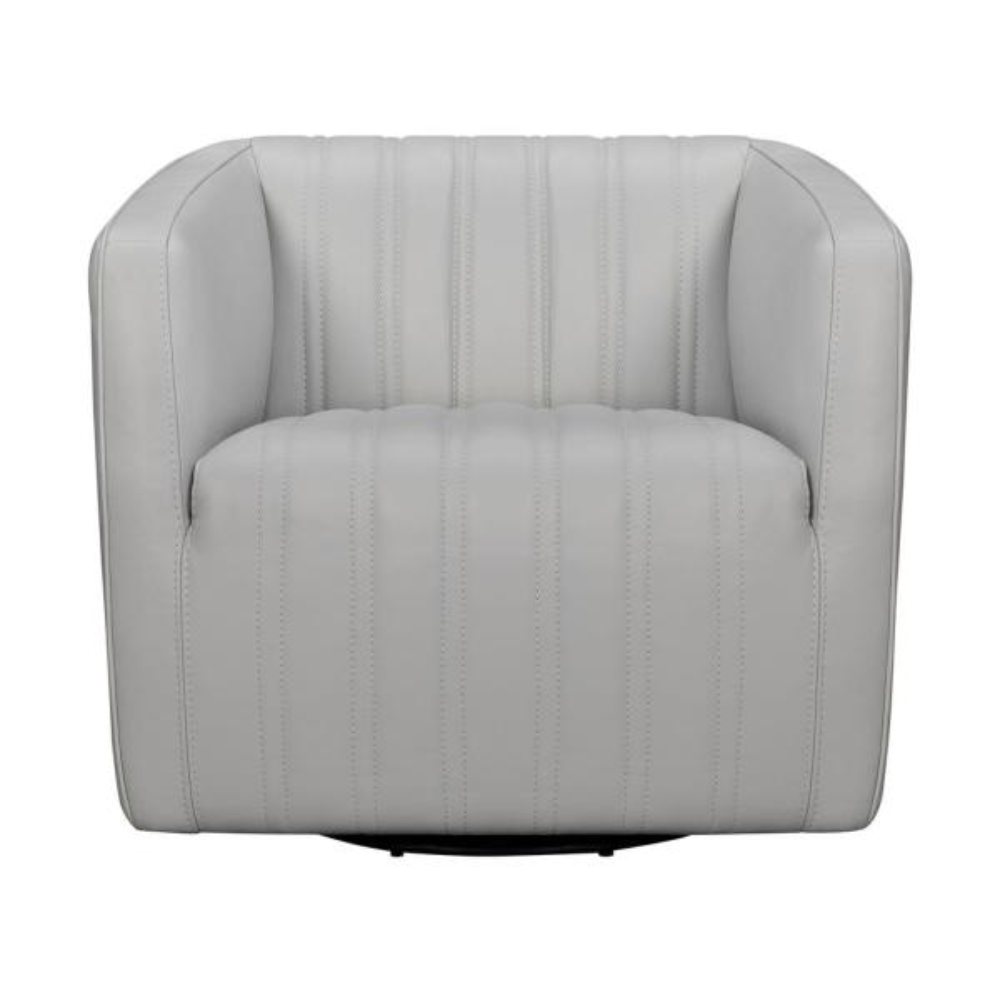 Aries Dove Gray Leather Swivel Barrel Chair