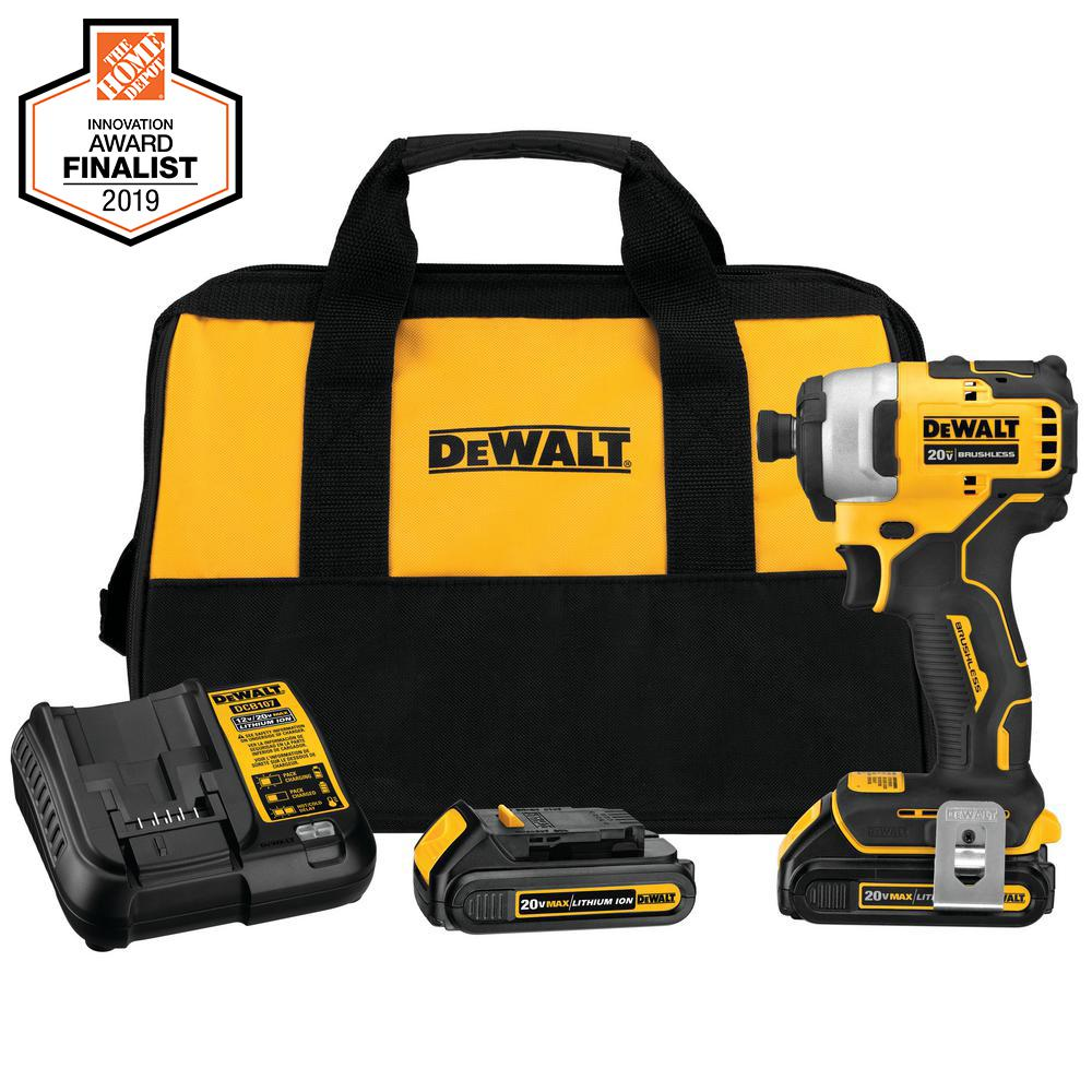 DEWALT ATOMIC 20-Volt MAX Lithium-Ion Brushless Cordless Compact 1/4 in. Impact Driver with 2 Batteries 1.3 Ah Charger and Bag