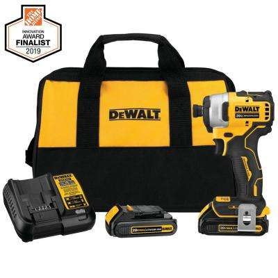 ATOMIC 20-Volt MAX Lithium-Ion Brushless Cordless Compact 1/4 in. Impact Driver with 2 Batteries 1.3 Ah Charger and Bag