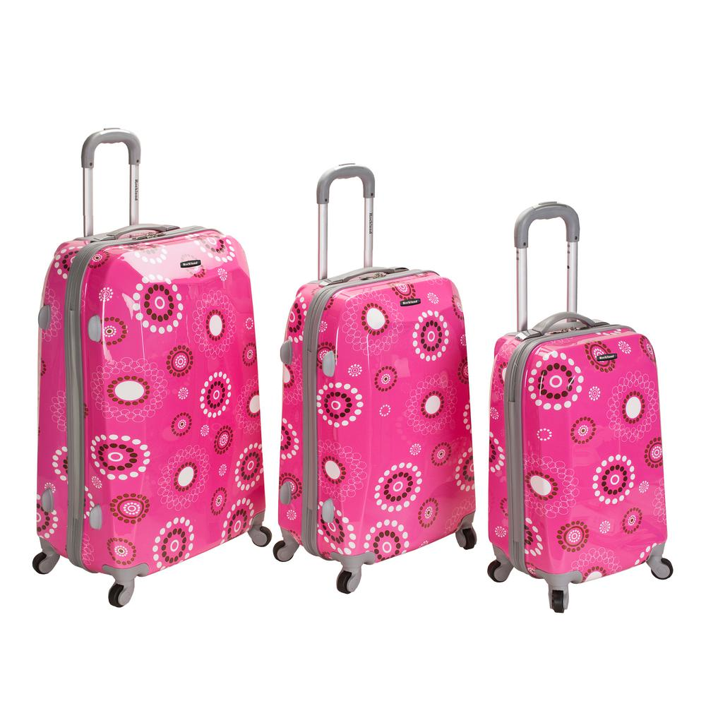 Rockland 3-Piece Vision Hardside Spinner Luggage set , Pinkpearl