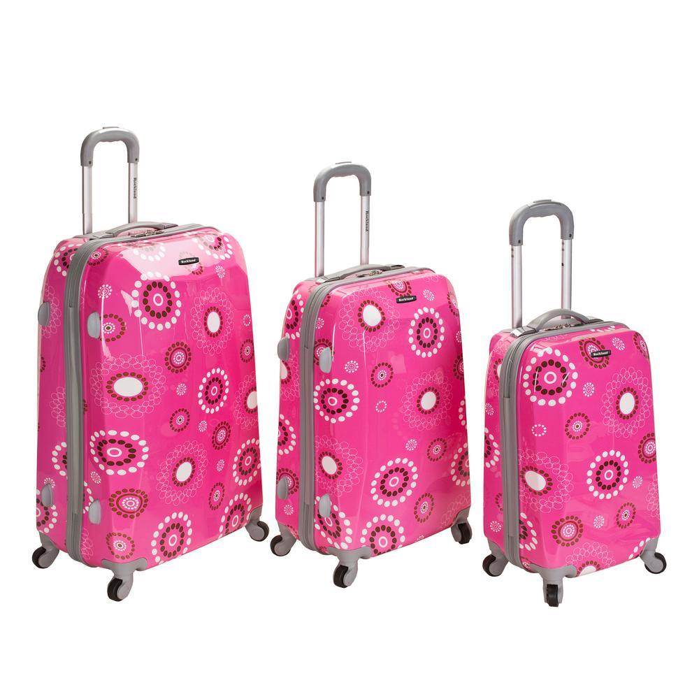 Rockland 3-Piece Vision Hardside Spinner Luggage set , Pinkpearl