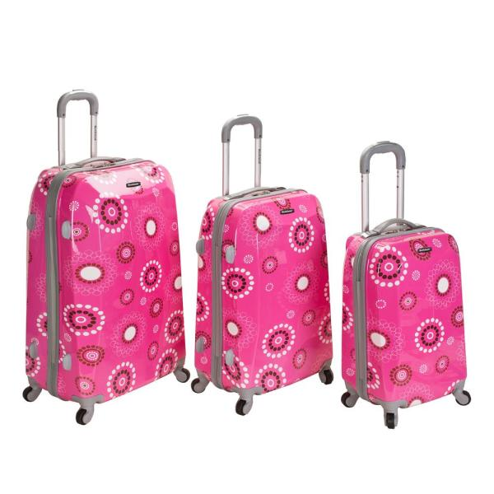 Rockland Rockland 3-Piece Vision Hardside Spinner Luggage set , Pinkpearl