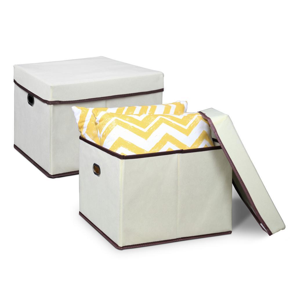 12.5 in. x 15.3 in. Heavy Duty Ivory Non-Woven Fabric Storage Bin (2-Pack)