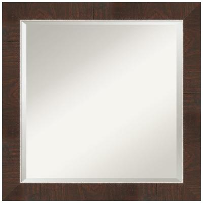 Medium Square Wildwood Brown Beveled Glass Casual Mirror (24 in. H x 24 in. W)