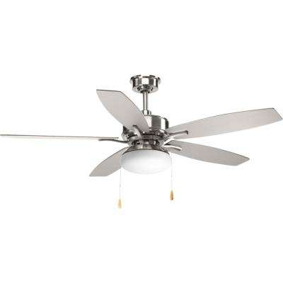 Billows Collection 52 in. LED Indoor Brushed Nickel Modern Ceiling Fan with Light Kit