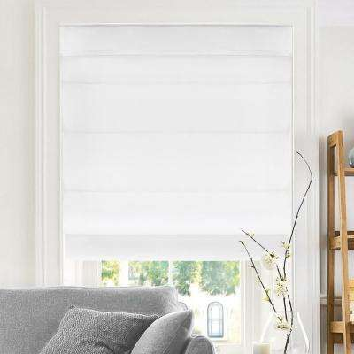 Cut-to-Width Snow Cordless Fabric Roman Shade - 48 in. W x 64 in. L