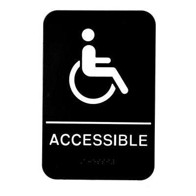 9 in. x 6 in. ADA Handicap Accessible Sign with Braille