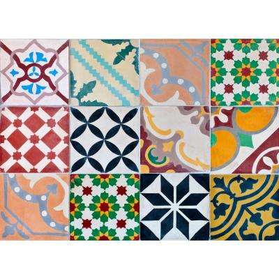 Multi Colorful Tiles Kitchen Panel Decal